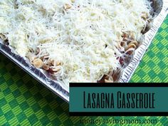 Lasagna Casserole: All the flavor with less expense!  1 pound ground beef or sausage 1 onion chopped (optional) 8 ounces of uncooked noodles (we like spiral or rotini noodles best) 1/3 to 1/2 jar spaghetti sauce 1 15-oz. can diced tomatoes 2 eggs, beaten 2 cups cottage cheese or ricotta cheese (we prefer cottage cheese and it's typically much cheaper — especially if you can find it marked down!) 8 oz. mozzarella cheese, grated 1/2 teaspoon parsley (chopped fresh or dried) salt/pepper