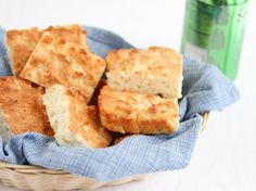 7-Up Biscuits    ingredients:  2 cups Bisquick  1/2 cup sour cream  1/2 cup 7-up (or other similar soda beverage. I used ginger ale)  1/4 cup melted butter