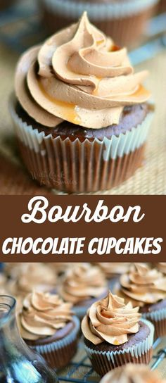Bourbon Chocolate Cupcakes with Chocolate Buttercream Frosting topped with sweet Bourbon Glaze. These cupcakes are unbelievably delicious, soft, and sweet with lots of chocolate flavors and a hint of bourbon. Cupcake Flavors, Cupcake Recipes, Cupcake Cakes, Dessert Recipes, Mnm Cake, Flavored Cupcakes, Yummy Recipes, Frost Cupcakes, Chocolate Flavors