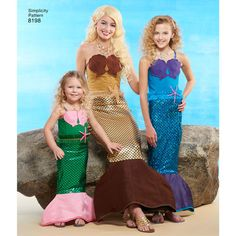 Pattern 8198 Child's, Girls' and Misses' Mermaid Costumes