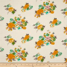 Rayon Challis Floral Golden/Jade from @fabricdotcom  This rayon fabric has a beautiful fluid drape and soft hand. It is perfect for creating shirts, blouses, gathered skirts and flowing dresses with a lining. Colors include golden yellow, jade, grey, pink, and ivory.