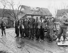 German troops taken prisoner by the 36th US Army Division in Rohrwiller, France, 1945.