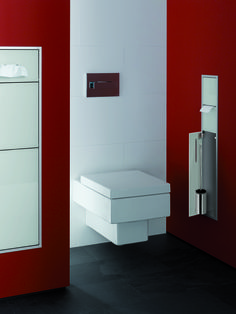 A toilet doesn't need to be round as this quiet place of the Emco Asis collection shows...