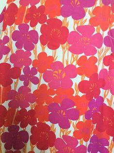 Pink purple vintage fabric Floral print Flower power Cotton fabric Scandinavian design Swedish retro pattern 60s mod home decor bold flowers by Inspiria on Etsy