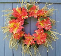 Summer Wreath, Hawaiian Luau Wreath, Tropical Party Decoration, Front Door Wreath