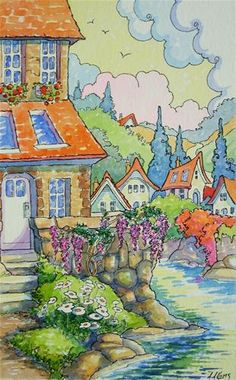 """Daily Paintworks - """"River Studios to Let Storybook..."""" by Alida Akers"""
