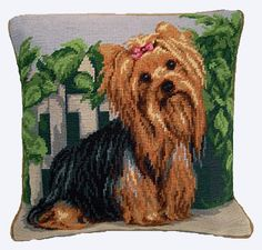 """New Sweet Yorkshire Terrier Yorkie Dog Wool Needlepoint Throw 14"""" Pillow 