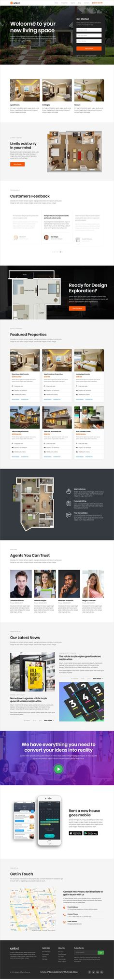 UniSet is clean and modern design responsive multipurpose bootstrap HTML #template for #realestate and #property selling agency #website with 21+ niche homepage layouts and 60+ UI elements to live preview & download click on Visit