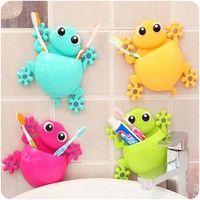 Commandez 1PC Animal Frog Silicone Toothbrush Holder Family Set Wall Bathroom Hanger Suction sur Wish - Acheter en s'amusant