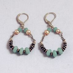 Sterling silver chain, beads, faceted amazonite gemstones and pink pearls form these raindrop earrings. Handmade in USA