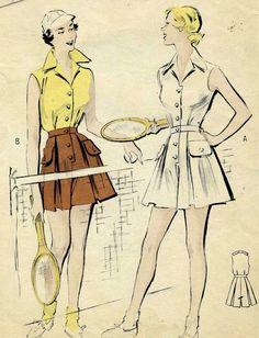 Vintage 40s Butterick 5305 Misses Tennis Playsuit by RomasMaison, $32.00
