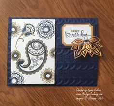handmade birthday card: Stampin Up Paisleys & Posies from AverysOwlery.com ... navy, white and gold ... luv the deep texture of the cable knit embossing folder ...