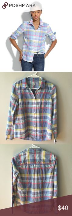 Madewell Madras Boyshirt A happy plaid for summer, done up in a shape that's made to flatter. Lightly worn - no stains, tears or pilling - great condition. True to size. Cotton. Machine wash. Madewell Tops Button Down Shirts