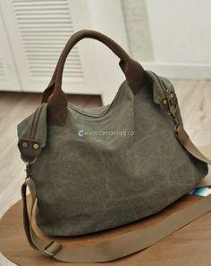 Large Capacity Shoulder Bag Leather Canvas Bag (17)