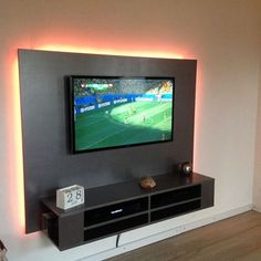 New furniture makeover tv stand diy tv 32 Ideas Floating Tv Cabinet, Floating Tv Unit, Floating Tv Stand, Floating Shelves, Furniture Plans, Furniture Makeover, Diy Furniture, Deco Gamer, Hanging Tv