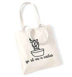 Go sit on a cactus tote bag