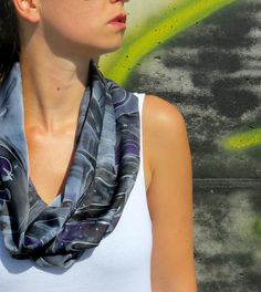 Silk scarf Hand painted Infinity Loop Scarf handpainted  Handmade Silk Satin Gray painted silk scarf Unique gift for her inexpensive gift (18.00 EUR) by SilkRevolt
