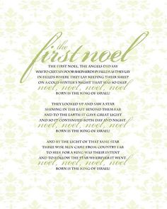 First Noel - printable Christmas hymn for decorating