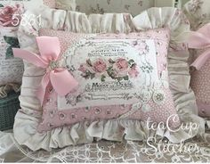 Pink Roses~Fancy Mode de Paris~SWEET ACCENT PILLOW~Rhinestone Heart~Perfume~5861 #Unbranded