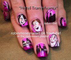 """Nail-art by Robin Moses: """"halloween nails"""" """"cute halloween nails"""" """"slenderman nail art"""" """"hotel transylvania nail art"""" """"dracula nail art"""" """"fr. Hotel Transylvania, Shellac Nail Art, Nail Polish, Gel Nails, Gothic Nail Art, Wood Nails, Nail Art Pictures, Diva Nails, Disney Nails"""