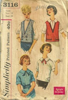 Simplicity 3116 1950s  Blouse Overblouse and Vest Pattern womens vintage sewing pattern by mbchills