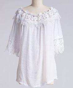 White Crochet Lace-Trrim Off-Shoulder Top - Plus