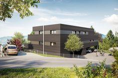 Wohnanlage Kehrstrasse Feldkirch | Atelier Ender | Architektur Style At Home, Feldkirch, Mansions, House Styles, Home Decor, Atelier, Underground Garage, Wood Facade, Architecture