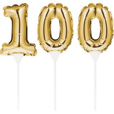 Club Pack of 36 Gold Colored 100 Balloon Cake Topper Picks Balloon Cake, Balloon Banner, Birthday Photo Booths, Birthday Photos, Birthday Supplies, Party Supplies, Gold Number Balloons, Birthday Balloons, Birthday Candles