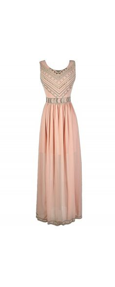 Sunbeams Gold Metallic Embroidered Maxi Dress in Pale Pink  www.lilyboutique.com