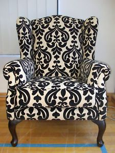 Wing Chair Black Cream | eBay
