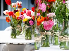 Love the flowers with the twine wrapped around the mason jars.   Might have to try that sometime.