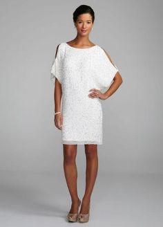 Cold Shoulder Beaded Sequin Dress - David's Bridal- mobile