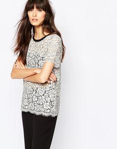 Selected - Ellinor - T-shirt en dentelle