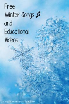 Lots of free winter educational videos and a list of winter-themed free song and rhyme posts. Winter resources for a variety of ages - Living Montessori Now Preschool Themes, Preschool Learning, Preschool Kindergarten, Circle Time Activities, Winter Activities For Kids, Character Education Videos, Fun Facts For Kids, Winter Songs, Free Songs