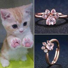 Bear Paw Cat Claw Women Rose Gold Opening Adjustable Zircon Rings  | eBay
