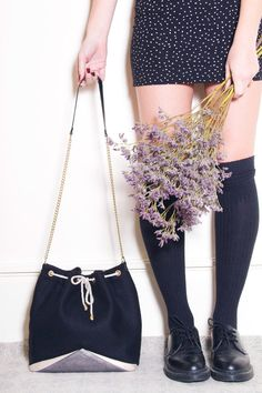 Louise bucket bag made of black wool with a grey and beige geometric  leather insert and golden chain 33944c982c0