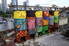 "Brazilian Street Art Twins ""Os Gemeos"" Paint Six Enormous Silos (9 pictures)"