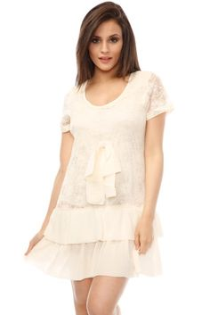 Lace Tiered Hem Shift Dress via Amazing Fashion!. Click on the image to see more! Kiss Online, Style Inspiration, Lace, Online Shopping, Amazon, Tops, Dresses, Vestidos, Amazons