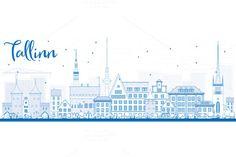 Outline Tallinn Skyline by Igor Sorokin on @creativemarket