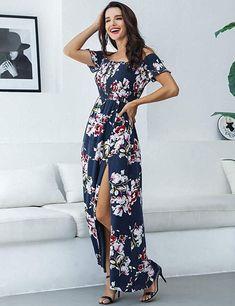 6ca9247af337 Azalosie Off Shoulder Maxi Dress Floral Short Sleeve Summer Beach Dress.  Cashmere Boutique