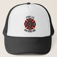 Firefighter Custom Text Name Personalized Trucker Hat   firefighter diy gifts, gift for firefighter, firefighter projects #companyofficer #firegirlfriend #likebunkergear Firefighter Cross, Firefighter Pictures, Firefighter Quotes, Firefighter Tattoos, Brother Tattoos, Tattoos For Guys, Geometric Tattoo Arm, Full Sleeve Tattoos