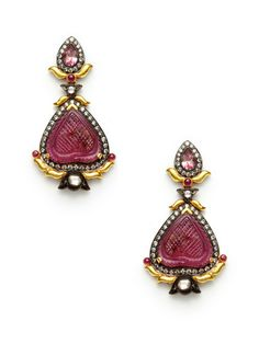 Amrapali 14K yellow gold, oxidized silver, and multi-cut champagne diamond geometric double drop earrings with carved tourmaline details and round ruby cabochon accents.