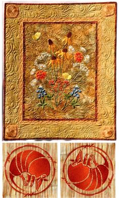 Texas Wildflowers, including Armadillos, embroidery and quilt design by Susa Glenn