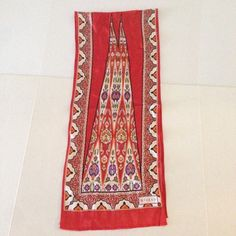 Vakko Silk long scarf Fine Turkish silk done in beautiful bold red, purple and cream pattern will add flair to any outfit. 53x11 inches.. Vakko Accessories Scarves & Wraps