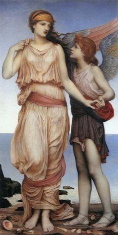 Venus and Cupid on the Seashore by Evelyn De Morgan