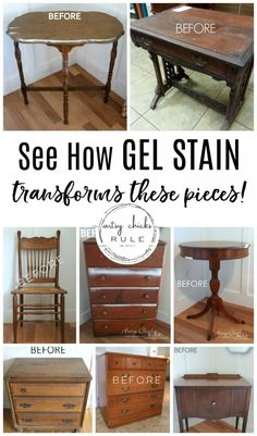 How To Use Gel Stain (and many project examples!) How To Use Gel Stain! Tips & Tricks For Using Gel Stain. All the basics and benefits of using gel stain for your next furniture makeover project! Gel Stain Furniture, Painting Wooden Furniture, Refurbished Furniture, Repurposed Furniture, Furniture Projects, Furniture Makeover, Diy Furniture, Antique Furniture, Rustic Furniture