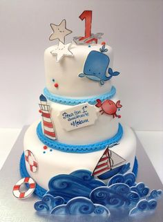 Ocean theme cake. Light house. Sail boat. Waves. Beach. Ocean Cakes, Beach Cakes, Cupcakes, Cupcake Cakes, Nautical Cake, Nautical Theme, Cake Designs For Boy, Marine Cake, Boat Cake
