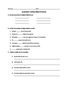 Spanish Direct Object Pronouns Worksheet with AR and ER Verbs - by ...