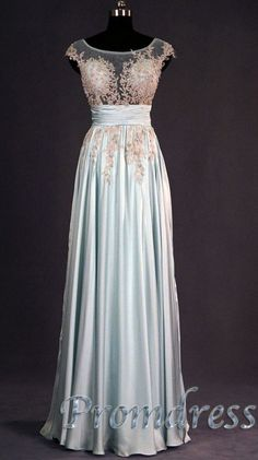 2015 spring cute tailor-made A-line lace chiffon blue long prom dress for teens, ball gown, evening dress #promdress #wedding