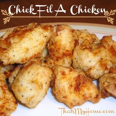 Almost Chick Fil-A Chicken » My favorite way to do chicken nuggets. Recipes, Food and Cooking #chickfilachicken #chickenrecipes